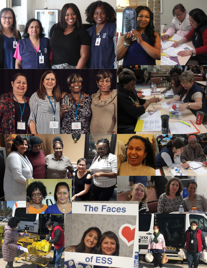 Picture collage of ESS Support Services PSWs in recognition of PSW Day 2020