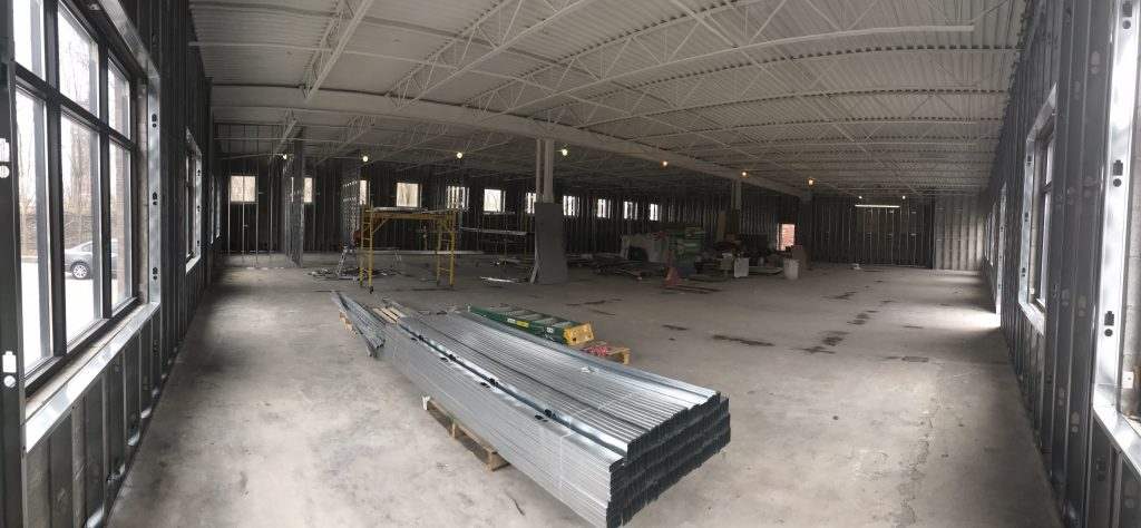 Interior of ESS Support Services new Senior Care Centre at the beginning stages of construction.