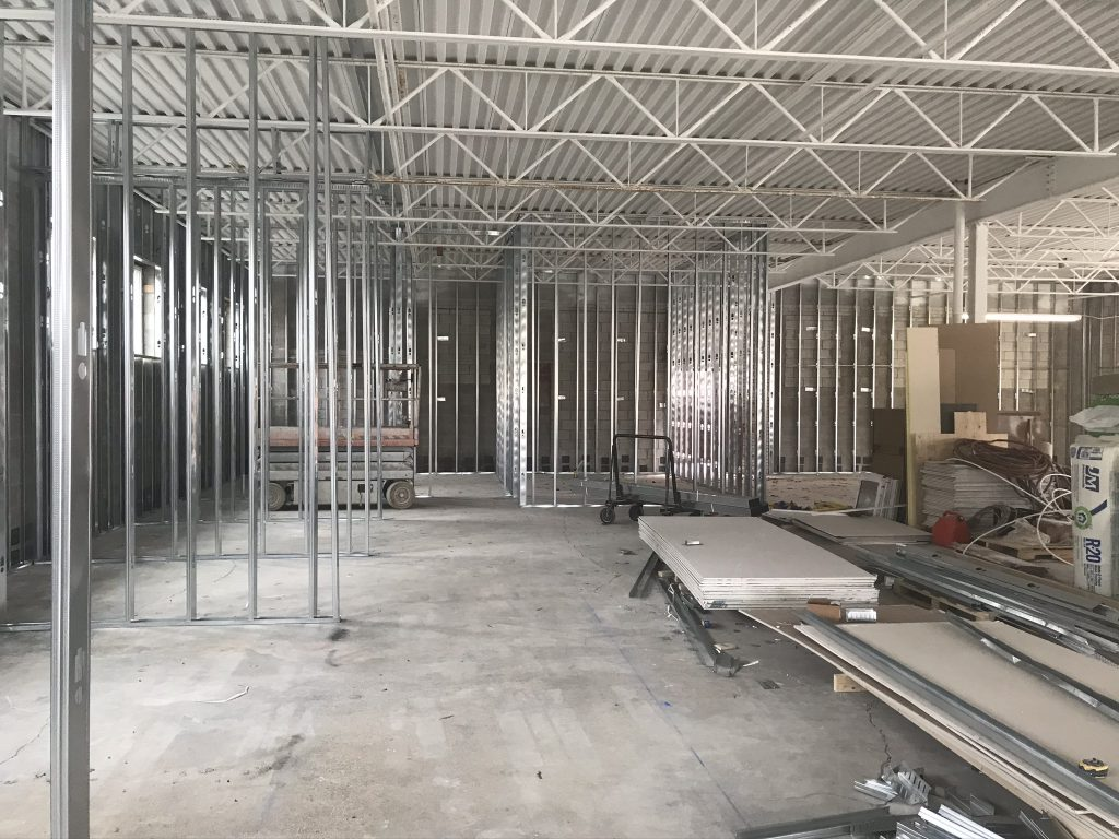 Beginning stages of the construction of ESS Support Services Senior Care Centre. Framing has been put in pace in the interior.