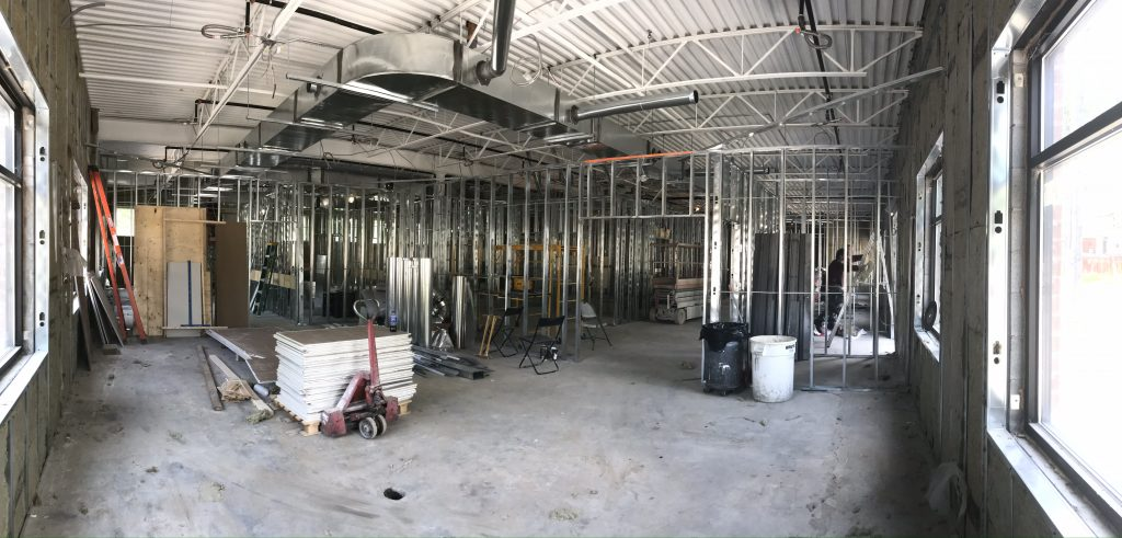 Beginning stages of the construction of ESS Support Services Senior Care Centre. Framing has been put in place in the interior.