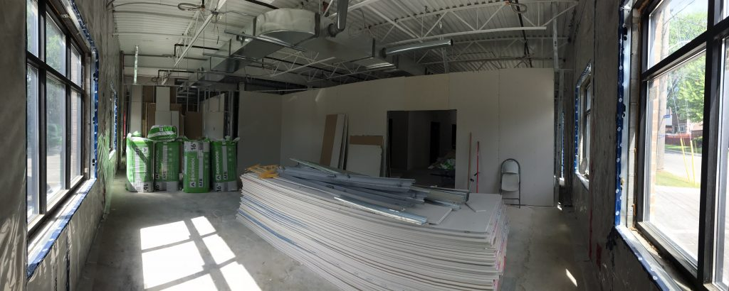 Construction progress of our program room in our Senior Care Centre. Drywall has been installed.