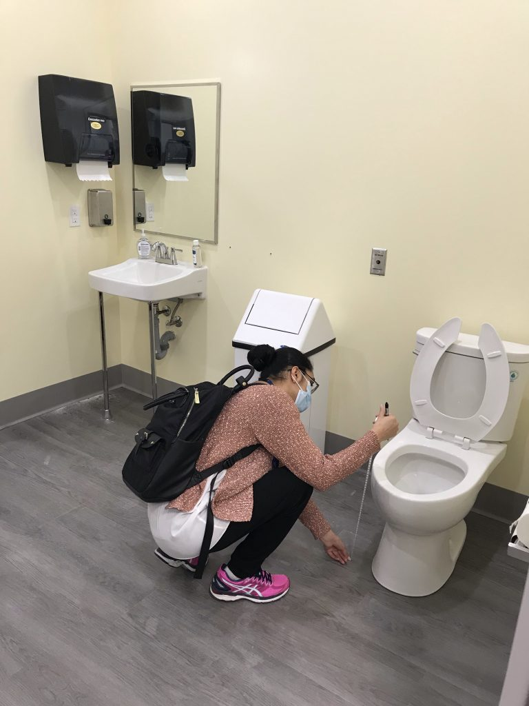 An occupational therapist to assess our washrooms for accessibility.