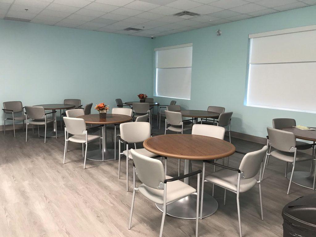 Dining area of our new Senior Care Centre, painted and furnished.
