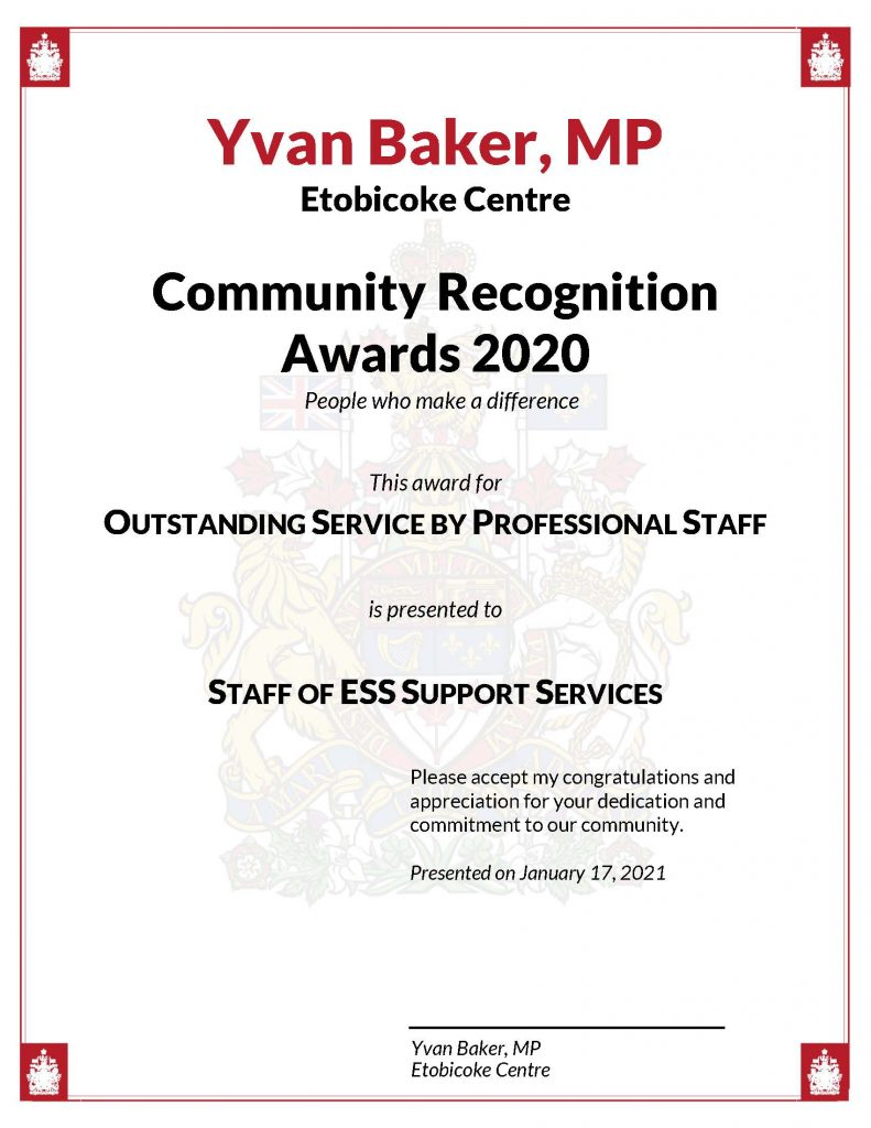 A copy of the community recognition award received by ESS staff
